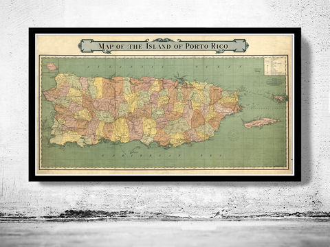 Old,Map,of,Puerto,Rico,Island,1915,Vintage,puerto rico, island, map, old map, antique, puerto rico poster, puerto rico map, map of puerto rico, porto rico