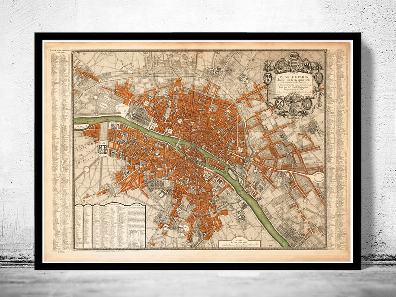 Old Map of Paris, France 1744 - product image