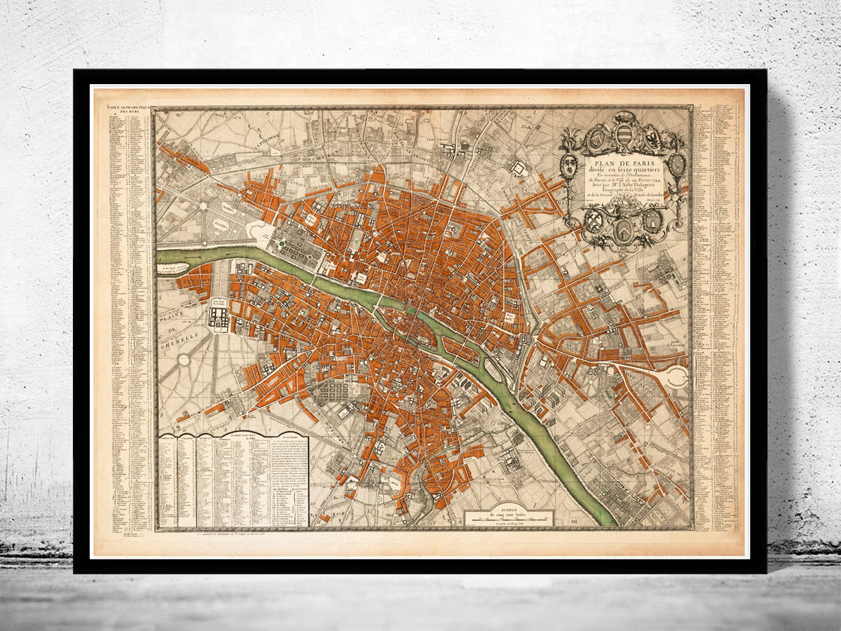 Old Map of Paris, France 1744 - product images  of