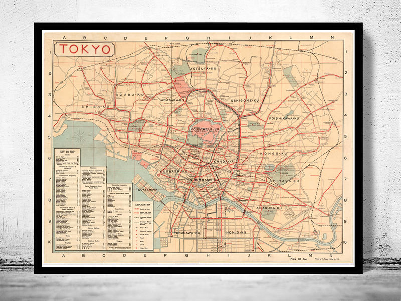 Vintage Map of Tokyo 1920 Japan - product image