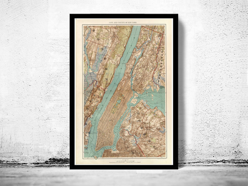 Old Map of New York and Manhattan, Bronx, Brooklyn  1891 - product image