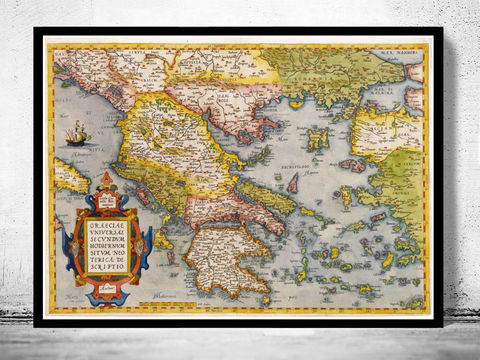 Old,Map,of,Greece,1572,Vintage,map,athens, map of greece, athens greece, greece map, greek art, greece poster, antique print, antique map