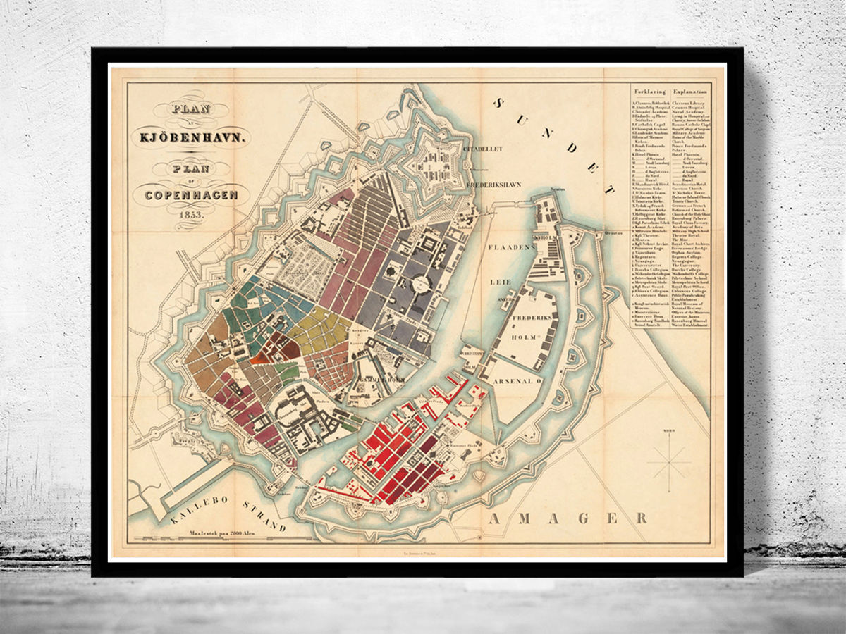 Old Map of Copenhagen Denmark 1853 , City Plan Vintage Map - product images  of