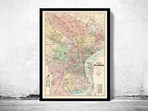 Old,Map,of,Philadelphia,1893,Vintage,philadelphia map, philadelphia poster, vintage, poster, antique map