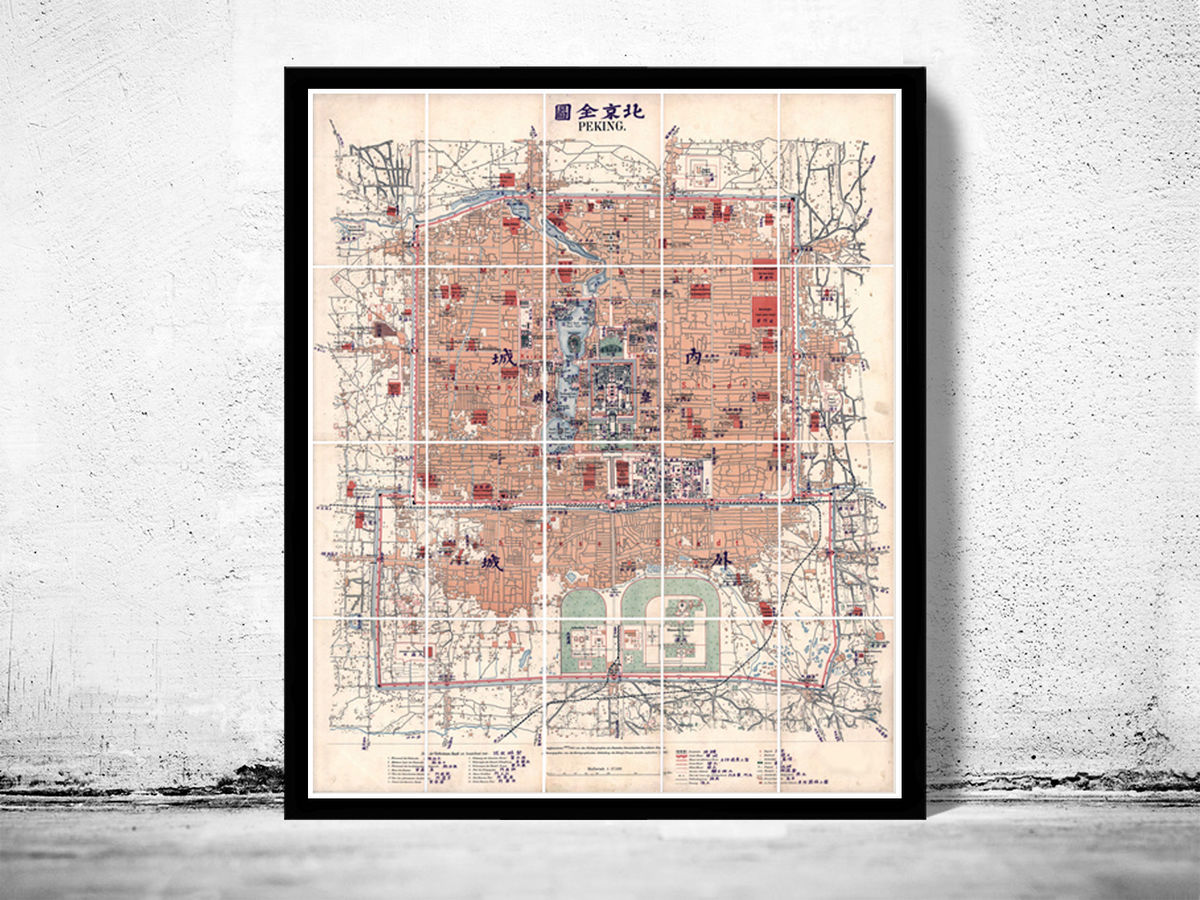 Old Map of Beijing China Peking 1919 - product images  of