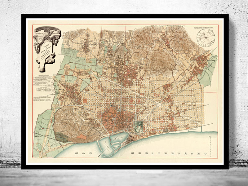 Old Map of Barcelona Spain Cataluña 1890 Vintage map Barcelona - product image
