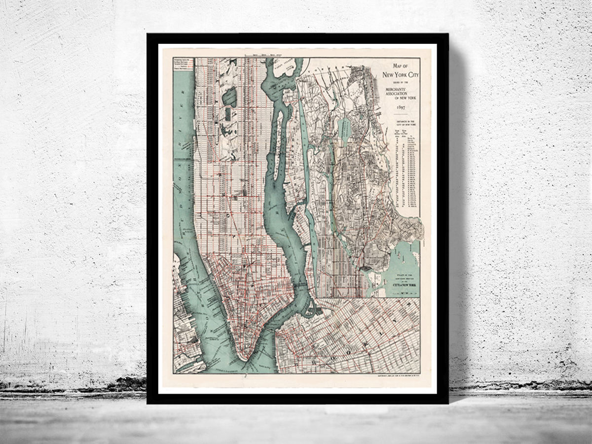 Old Map of New York, United States 1897 Manhattan - product images  of