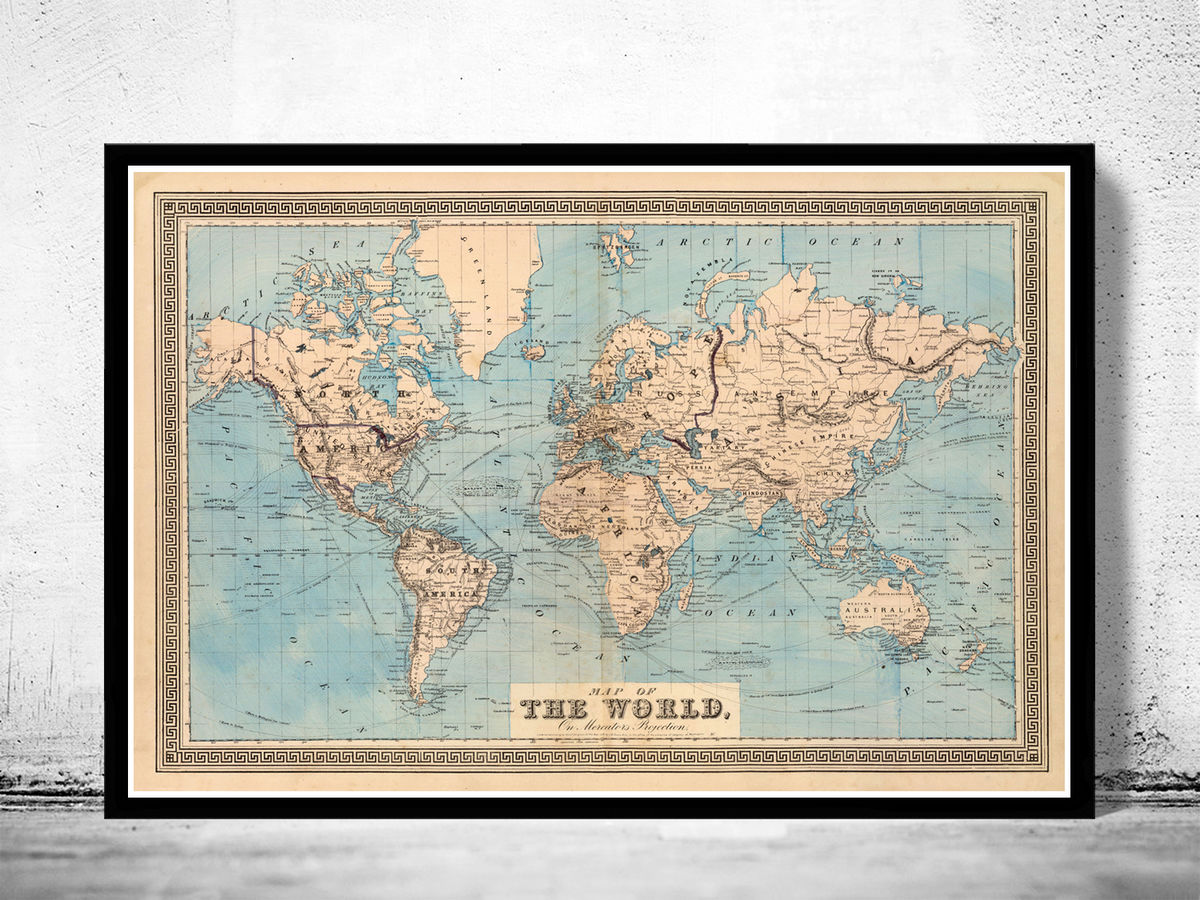 Vintage World Map 1876 Mercator projection - product images  of