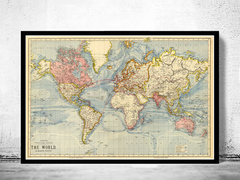 Old,World,Map,1883,Mercator,projection,Vintage,world map wall map, old world map, world map, world map for sale, maps for sale, atlas, antique map, antique world map, vintage maps, old maps