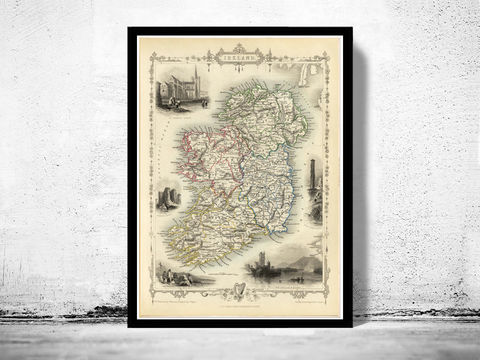 Vintage,Map,of,Ireland,1851,Beautiful,Antique,map,with,gravures,Art,Reproduction,Open_Edition,United_Kingdom,old_map,map_of_ireland,ireland_map,medieval,irish,ireland_poster,vintage_map,antique_ireland_map,vintage_ireland,dublin,ireland_retro