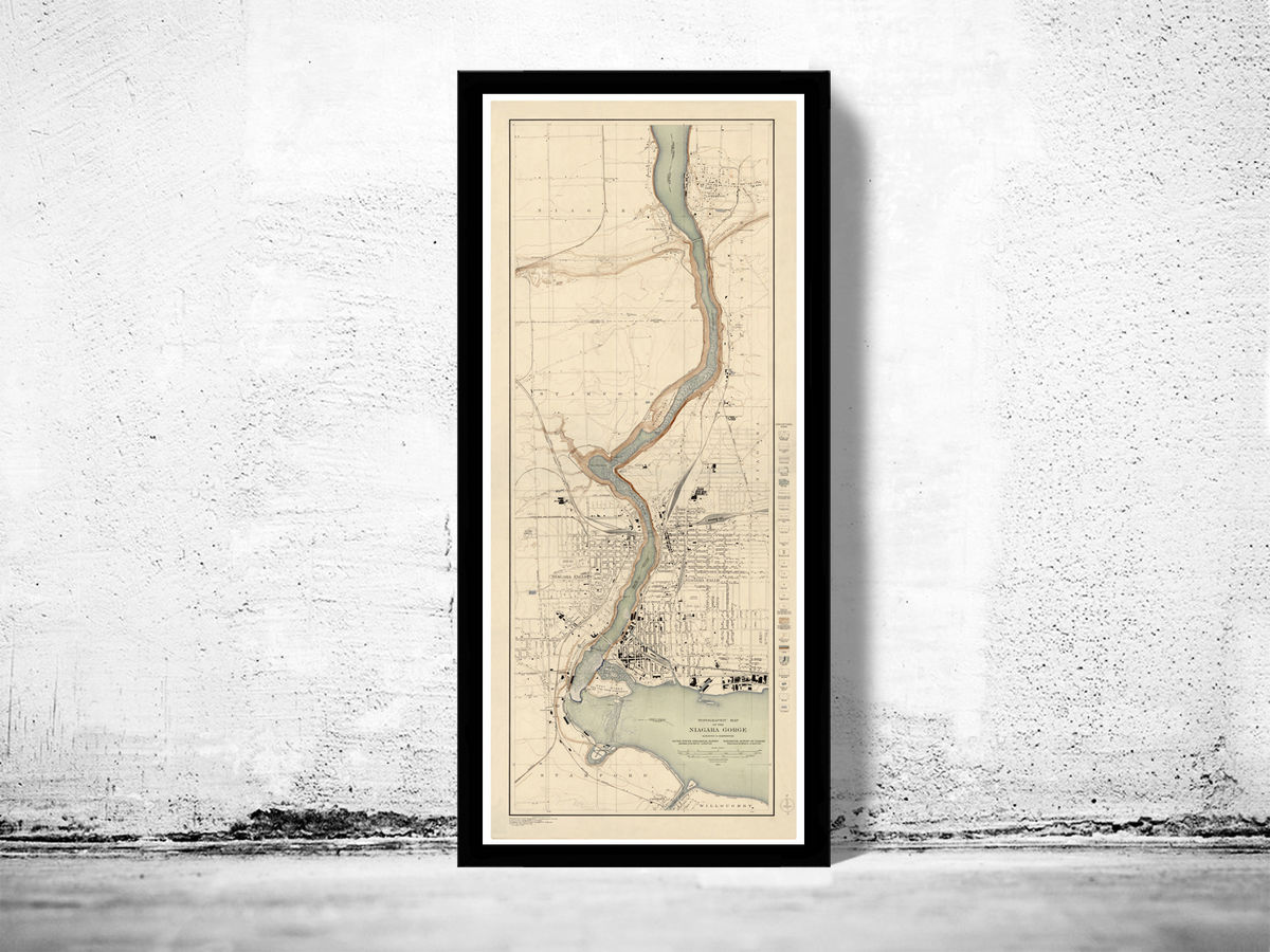 Vintage map of Niagara Gorge, Canada, niagara falls , Stamford 1913 - product images  of