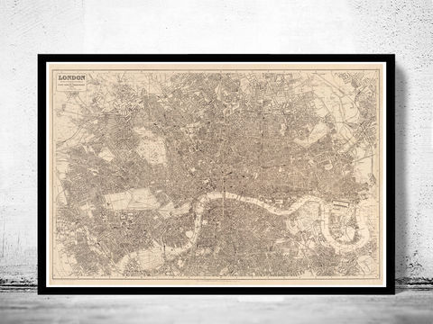 Old,Map,of,London,,,England,United,Kingdom,1894,london map, vintage map, maps and atlases, map of london, london poster, city poster