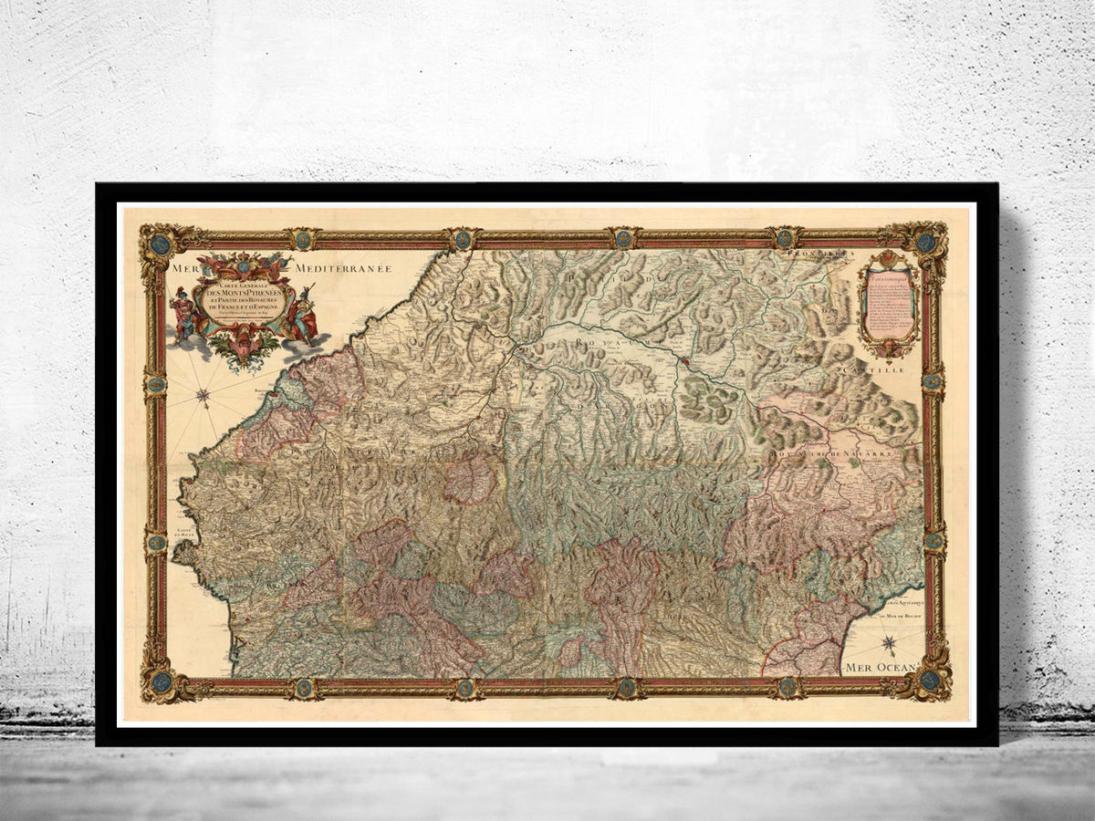 Old Map of Pyrenees Pirineus 1730 Vintage Map - product images  of