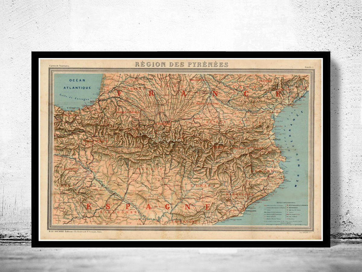Old Map of Pyrenees Pirineus 1920 Vintage Map  - product images  of