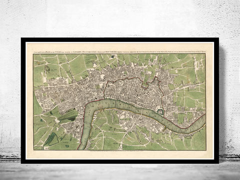 Old,Map,of,London,1763,,,England,United,Kingdom,london map, vintage map, maps and atlases, map of london, london poster, city poster