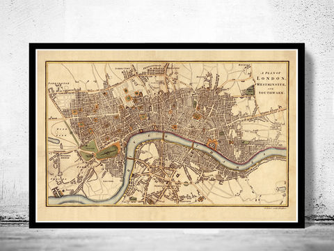Old,Map,of,London,,,England,United,Kingdom,1807,london map, vintage map, maps and atlases, map of london, london poster, city poster