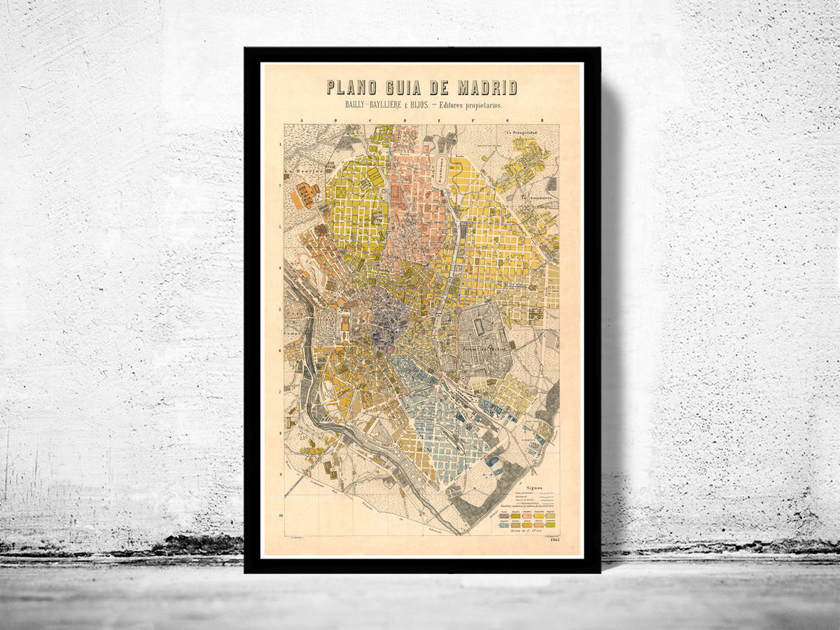Old Map of Madrid 1905, Spain Espana - product images  of