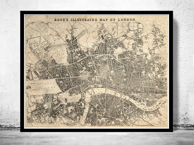 Old Map of London , England United Kingdom 1845 - product image