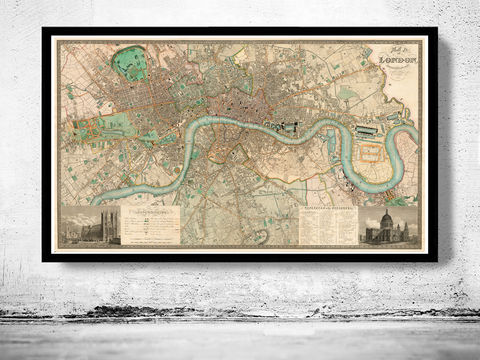 Victorian,Old,London,Map,1830,England,Vintage,old map of london, vintage map of london, old maps online, old maps for sale, london wall decor, london victorian map reproduction, london map, map of london, london poster, Art,Reproduction,Open_Edition,city,vintage,illustration,gravur