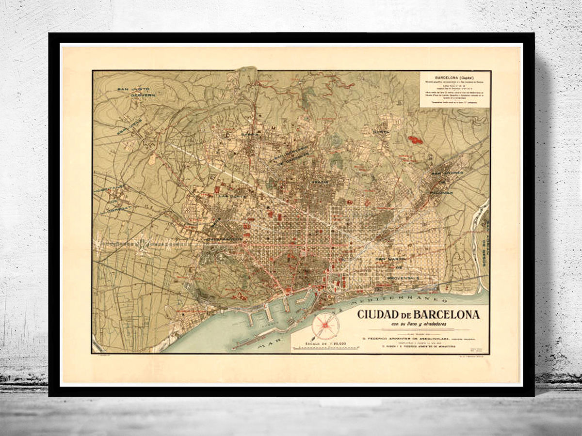 Old Map of Barcelona Spain Cataluña 1900 Vintage map Barcelona - product images  of
