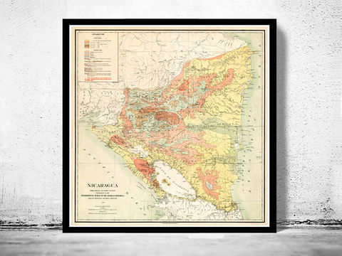 Old,Map,of,Nicaragua,1903,Vintage,nicaragua, nicaragua map, map of nicaragua, nicaragua poster, old map, vintage map, antique map, antique maps to buy, maps for sale, maps reproduction