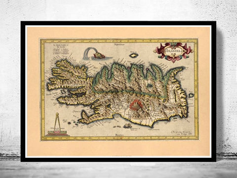 Old,Map,of,Iceland,1606,Vintage,Art,Reproduction,Open_Edition,old_map,antique,illustration,vintage_map,iceland,island,iceland_map,map_of_iceland,iceland_poster,vintage_poster,vintage_iceland,sea_monsters,islandia