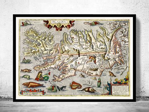 Old,Map,of,Iceland,islandia,1542,Island,Sea,Monsters,Art,Reproduction,Open_Edition,old_map,antique,illustration,vintage_map,iceland,island,iceland_map,map_of_iceland,iceland_poster,vintage_poster,vintage_iceland,sea_monsters