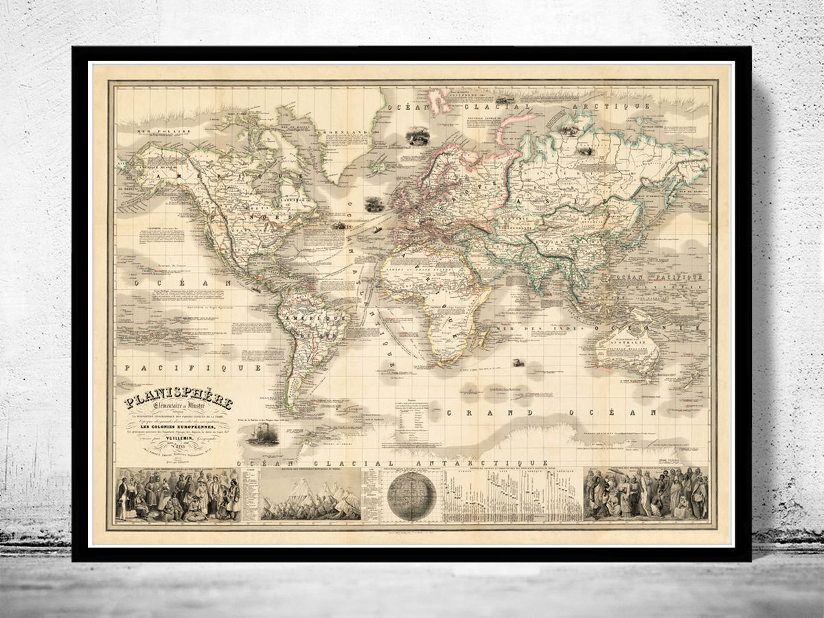 Old World Map 1853 Vintage Look Vintage World Map - product images  of