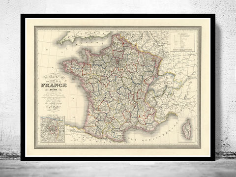 Old,Map,of,France,1835,Antique,map,historical map  , vintage map  , vintage poster , map of france , france  , old map france , france poster , france vintage , france country map , paris vintage  , antique france  , french art  , french