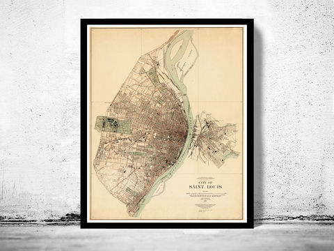 Old,map,of,Saint,Louis,City,St,1904,Vintage,Map,saint louis city, sant louis, st louis, saint louis map, map of saint louis