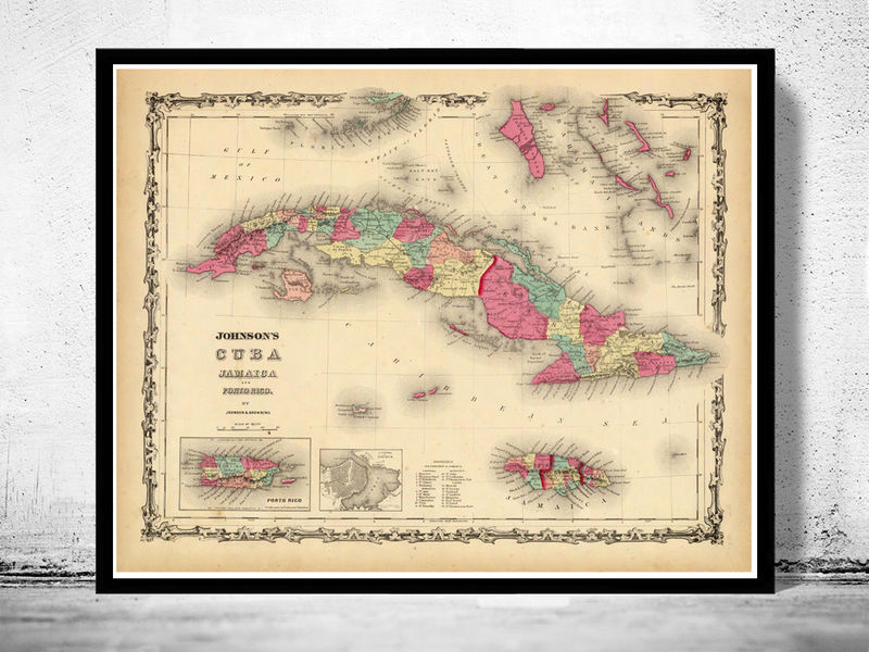 Old Map of Antilles Islands 1860 Jamaica Puerto Rico - product image