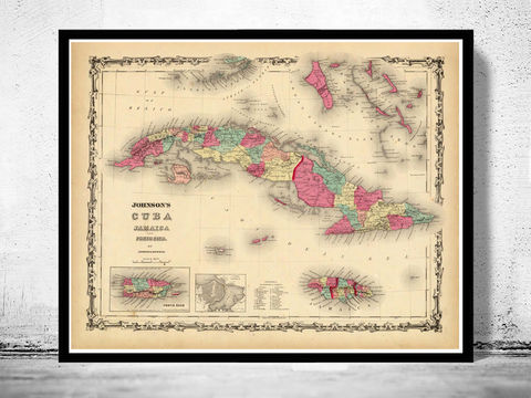 Old,Map,of,Antilles,Islands,1860,Jamaica,Puerto,Rico,cuba map, cuba , jamaica map, puerto rico