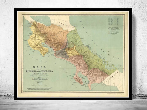 Vintage,Map,of,Costa,Rica,1889,costa rica map, map of costa rica, costa rica poster, costa rica gift, antique costa rica, costa rica island, antique maps, old maps for sale
