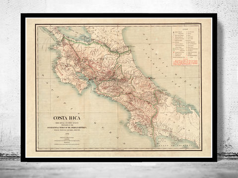 Old,Map,of,Costa,Rica,1903,Vintage,costa rica map, map of costa rica, costa rica poster, costa rica gift, antique costa rica, costa rica island, antique maps, old maps for sale