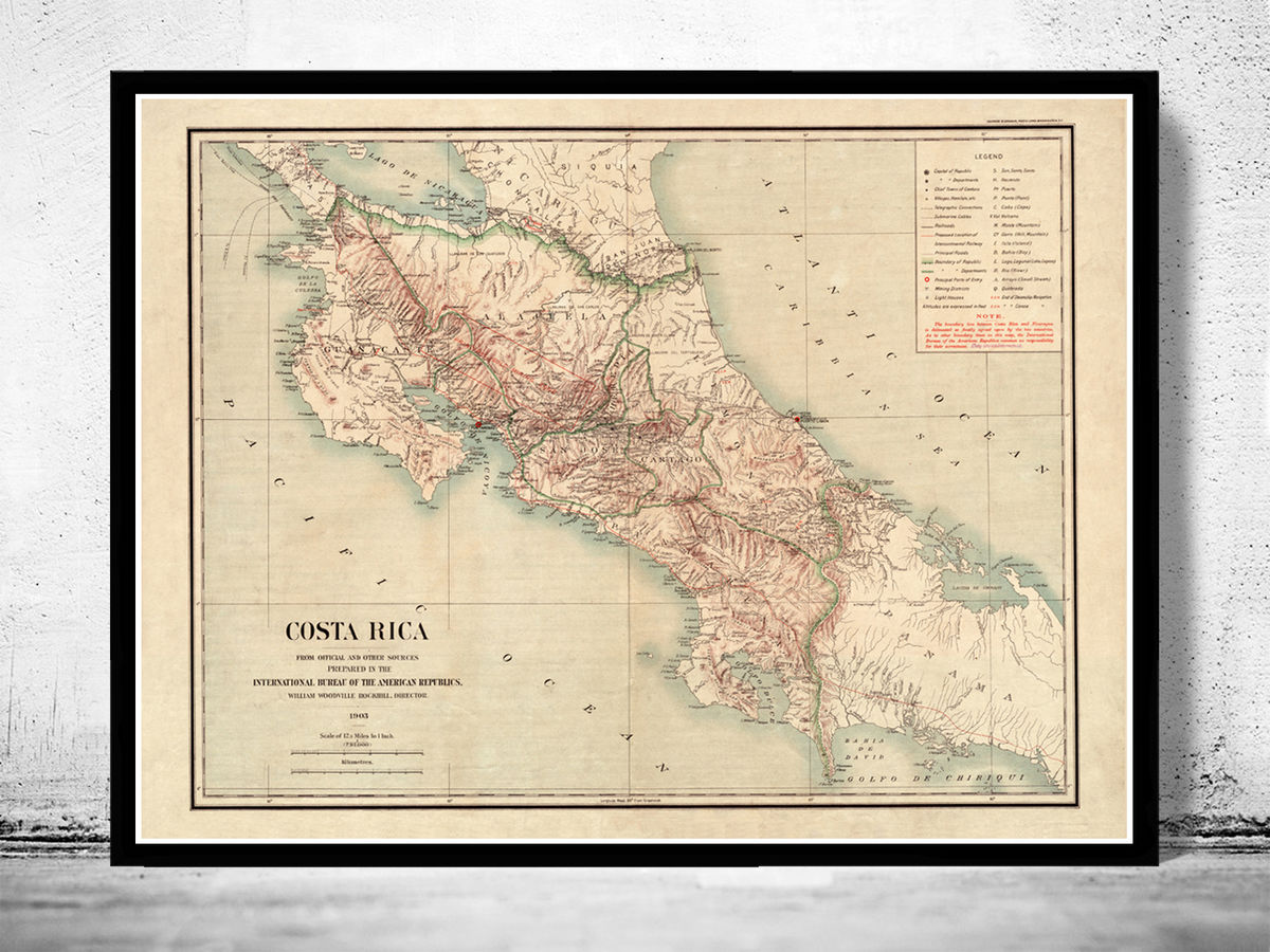 Old Map of Costa Rica 1903 Vintage Map - product images  of