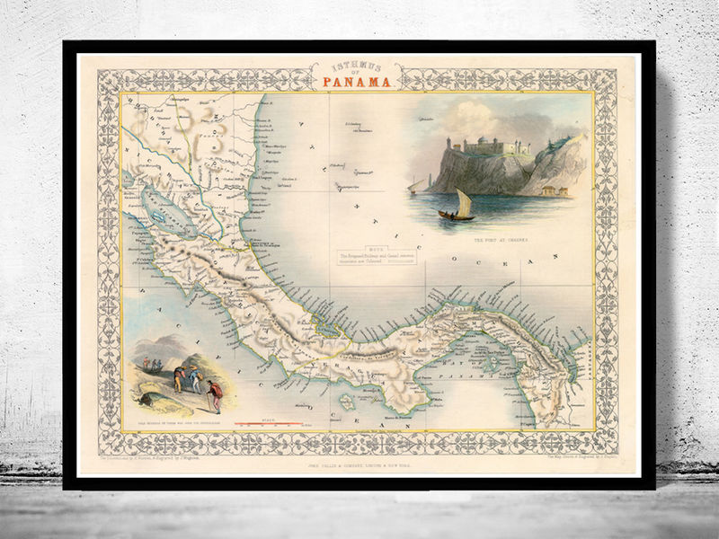 Vintage Map of Panama, Old map 1857 - product image