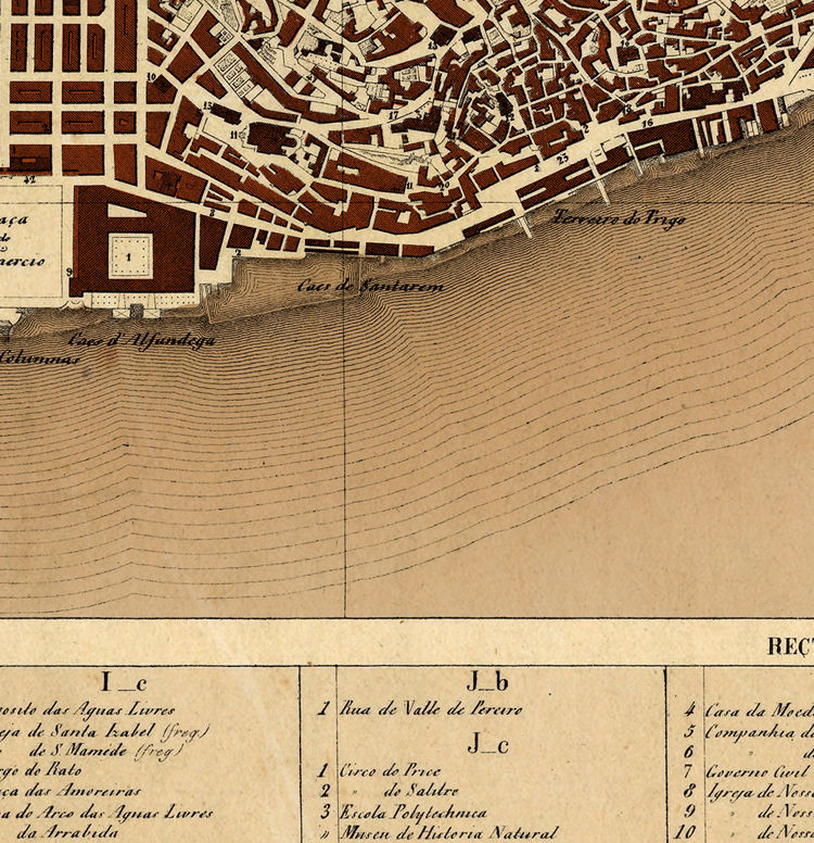 Old Map of Lisbon Lisboa Portugal mapa antigo 1871 - product image