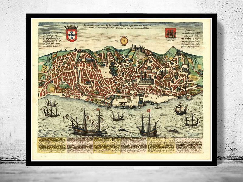 portugal mapa antigo Old Map of Lisbon 1598 Lisboa Portugal mapa antigo   OLD MAPS AND  portugal mapa antigo