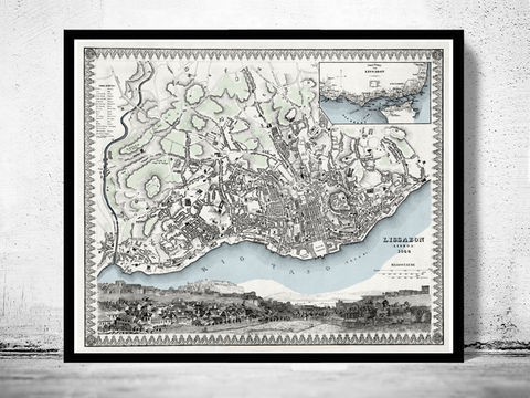 Old,Map,of,Lisbon,Lisboa,Portugal,mapa,antigo,1844,Art,Reproduction,Open_Edition,plan,panoramic_view,portugal,lisbon,lisboa,old_lisbon_map,lisbon_map,lisbon_vintage,lisbon_city,map_of_lisbon,lisbon_retro,antique_lisbon