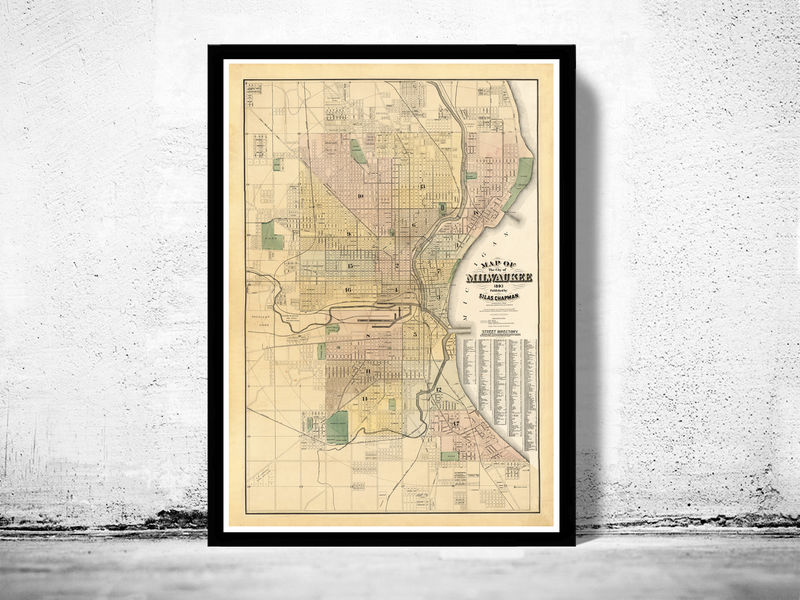 Old Map of Milwaukee 1893 Vintage map - product image