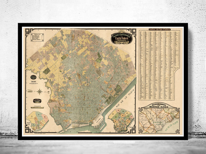 Buenos Aires Great Old Map,  Argentina 1920 Vintage map of Buenos Aires - product image