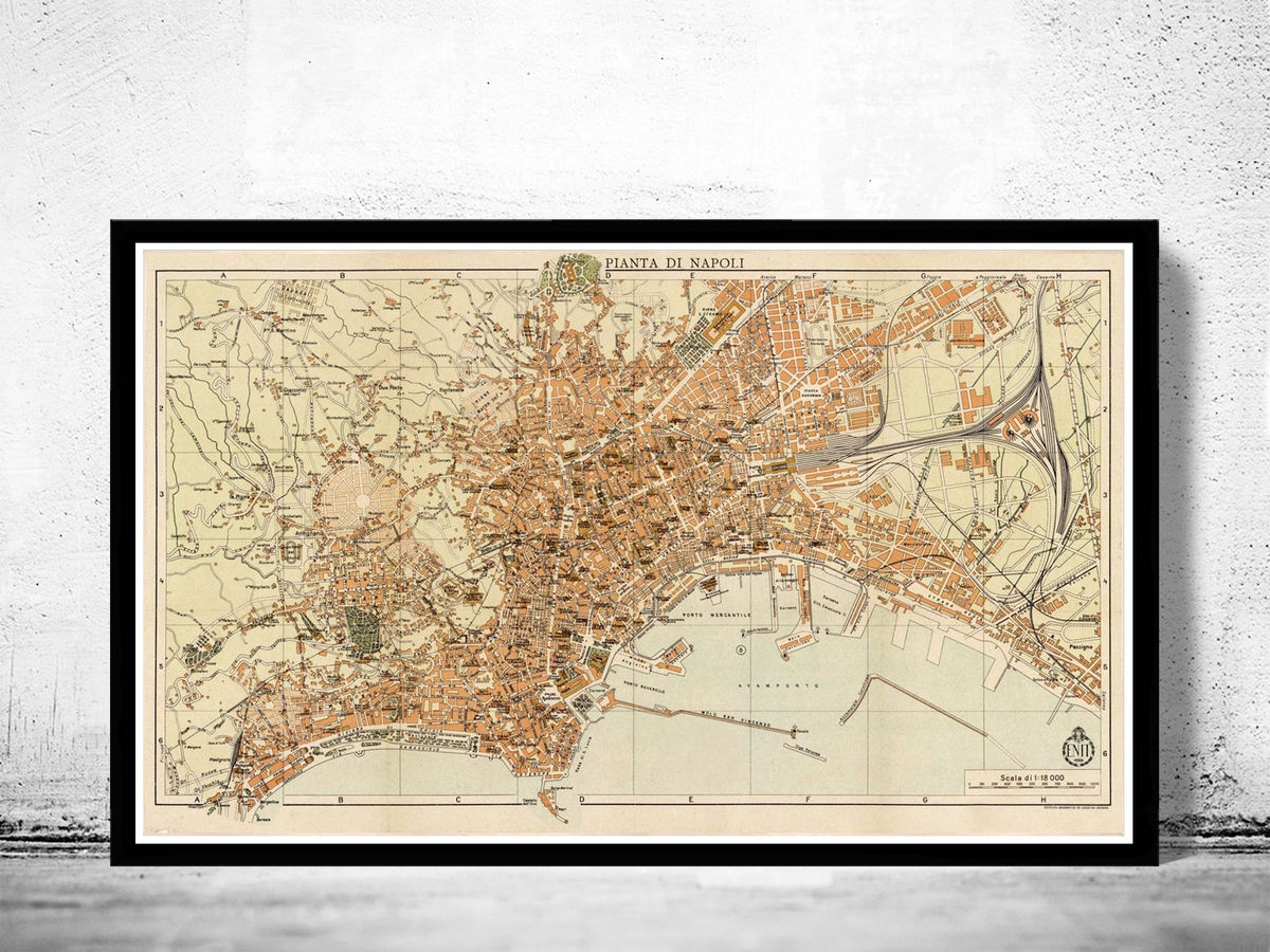 Old Map of Napoli Naples 1930 Vintage Map of Naples - product images  of