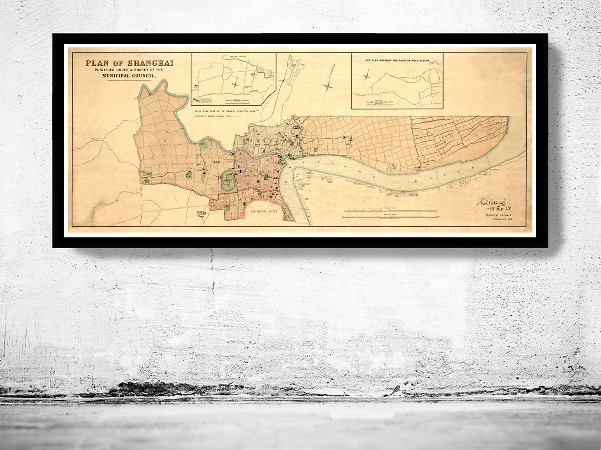 Vintage Map of Shanghai 1904 China - product images  of