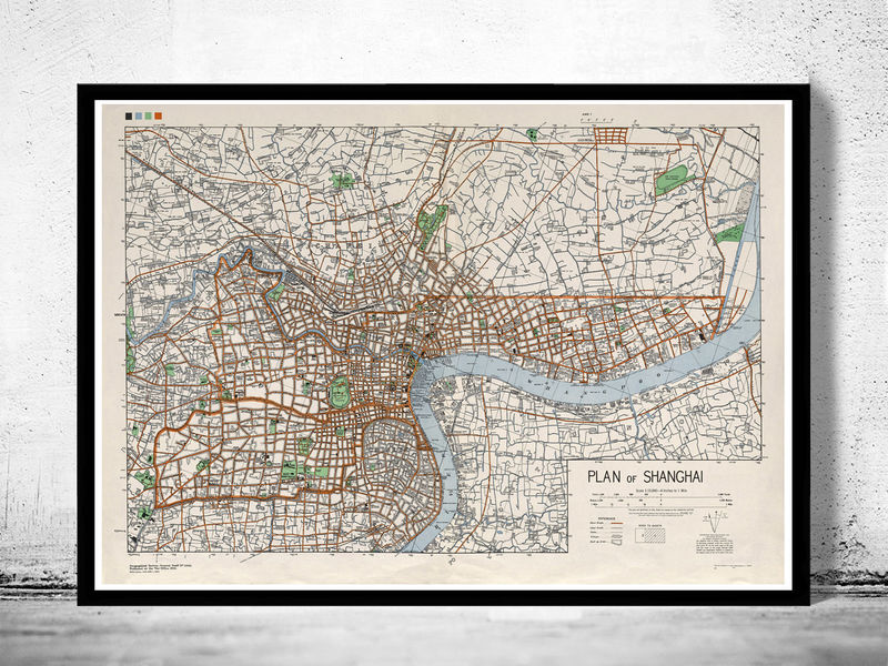 Vintage Map of Shanghai 1945 China - product image