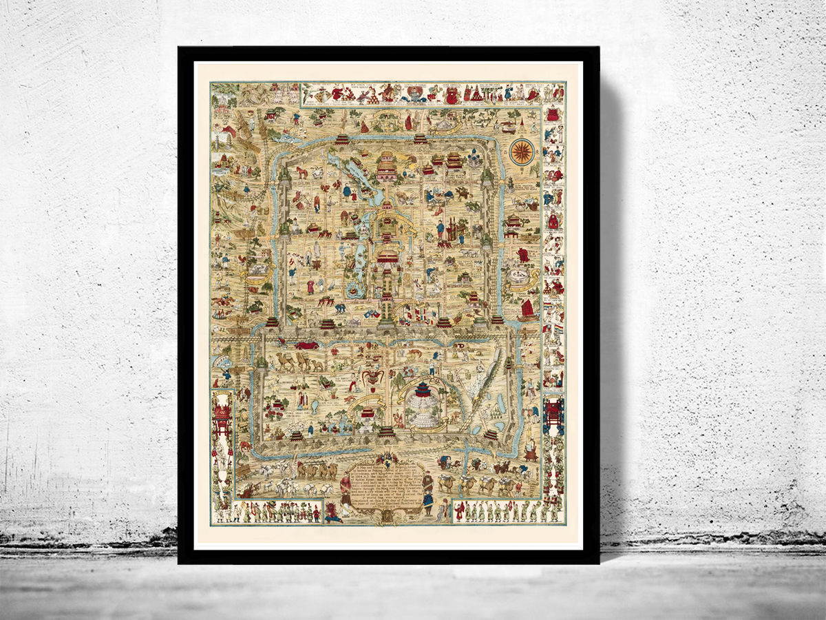 Vintage Map of Beijing China Peking 1936 - product images  of