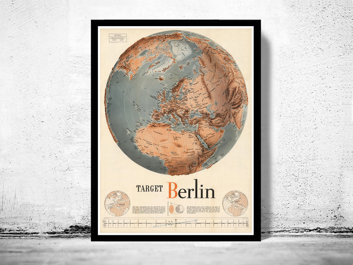 Vintage Target Berlin Germany War Map Poster 1943 - product images  of