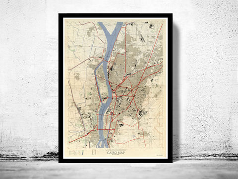 Vintage,Map,of,Cairo,Egypt,Old,1958,cairo map, cairo, cairo egypt, egypt