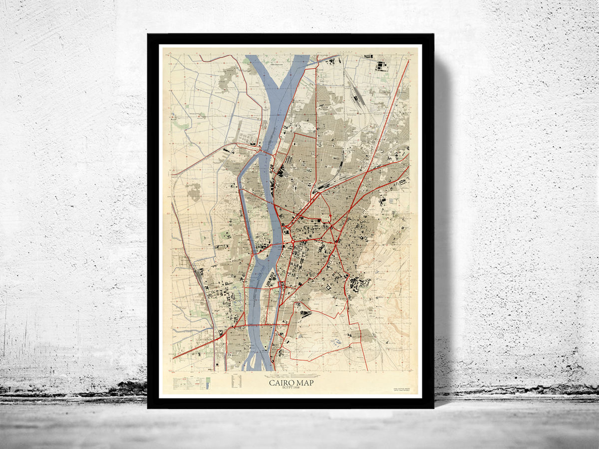 Old Map of Cairo 1958 Egypt Old Map of Cairo  - product images  of
