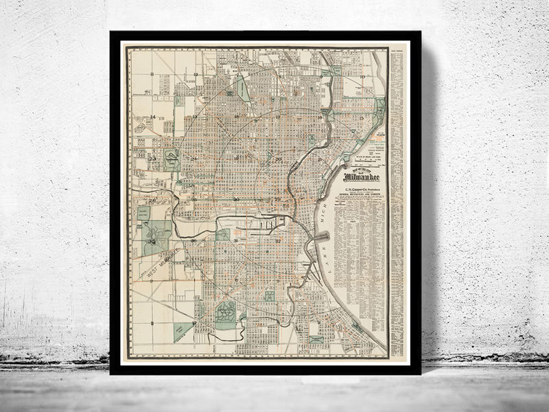 Old Map of milwaukee 1912 Vintage map United States of America - product image