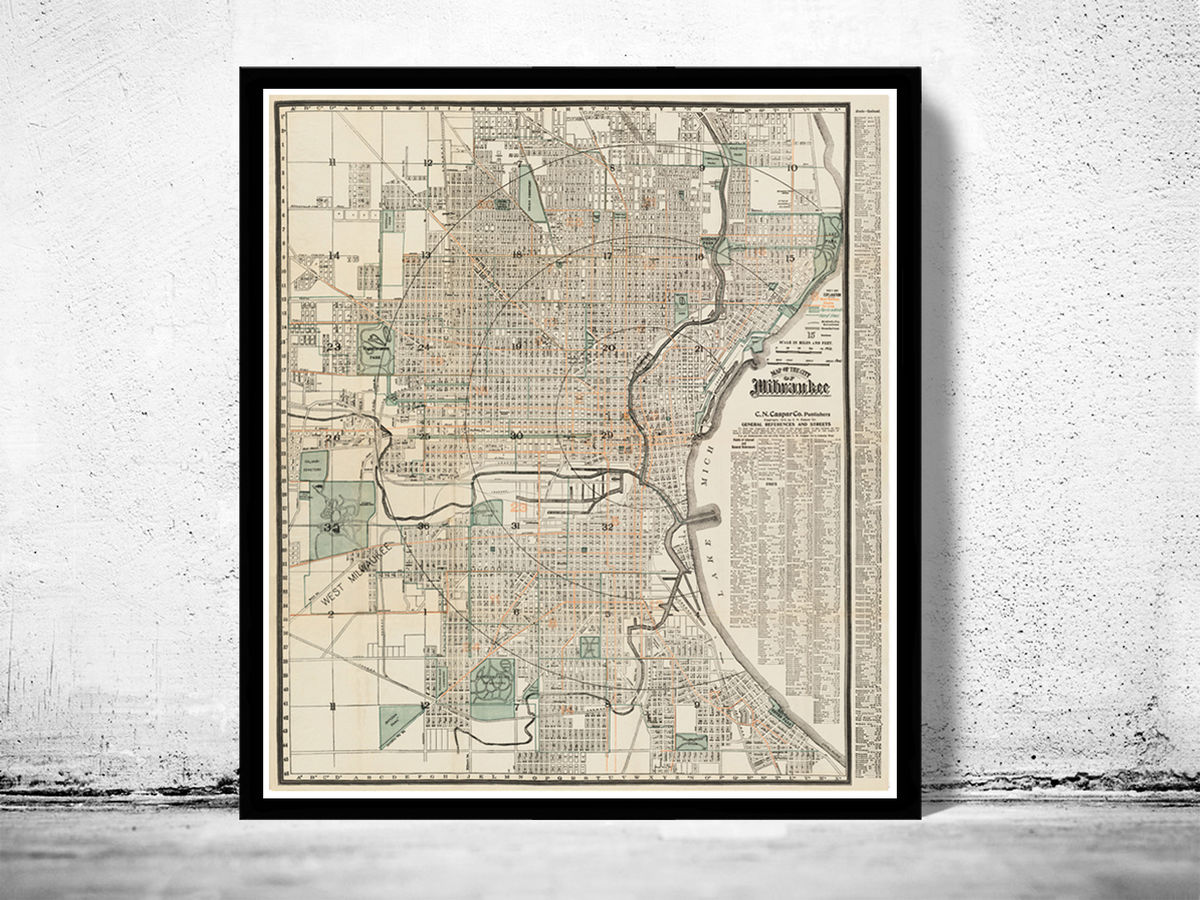 Old Map of milwaukee 1912 Vintage map United States of America - product images  of